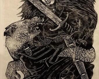 Jon Snow Linoblock Print
