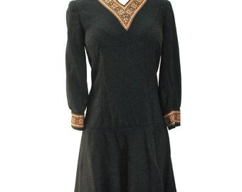 M L 60s MOD Black Wool Drop Waist MCM Twiggy Autumn Gold Mid Century NWOT Deadstock Handmade