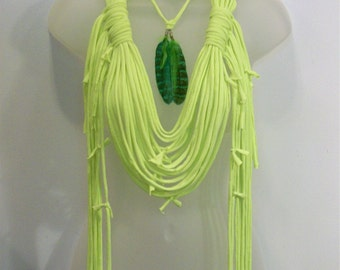 Neon, green, yellow, infinity scarf, hippie, boho bohemian, festival, feather neck piece, tattered scarf, shredded, fringe clothing
