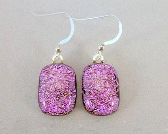 Pink Dichroic Fused Glass Dangle Earrings, Fused Glass, Fused Glass Earrings, Dichroic Earrings, Dangle Earrings, Dichroic, PInk Earrings
