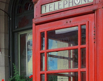Red Phone Booth - Kingston Wall Decor - Fine Art Photography Print - Architecture, Vintage, London Style, Red