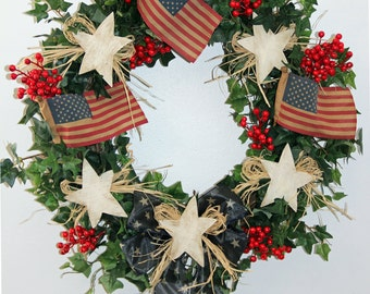 Patriotic Wreath, 4th of July Wreath, American Wreath, Summer Wreath, Door Wreath, Red White Blue Wreath, Flag Wreath, Sta