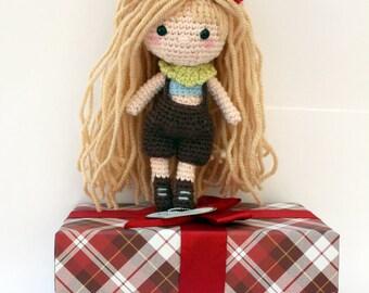 Shia Doll Emily // Cute amigurumi crochet doll, country girl doll ooak