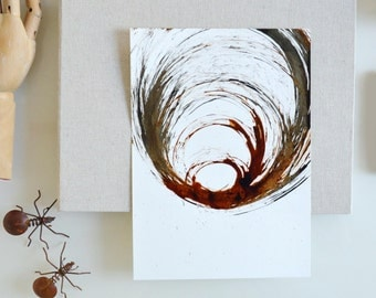 A4-Original Abstract Painting-Movement/storm/modern art/wind/way/nature/geometric/modern drawing/abstract/abstract art by Cristina Ripper
