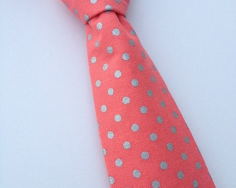 Boys Neck Tie, Infant Neck Tie, Coral Neck Tie, Toddler NeckTie