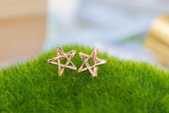 Rose Earring Rose Gold Star Stud Earrings