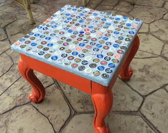 Beer or soda bottle-cap table
