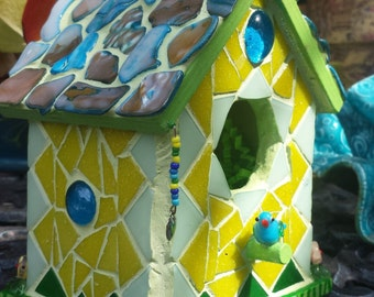Birdhouse, small -Yellow and Blue
