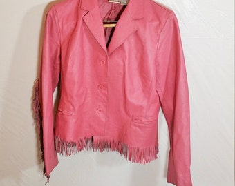 Pink Leather Fringe Jacket Vintage Womem Size 12 IT403