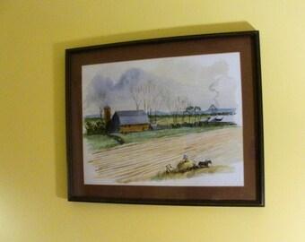 VTG Rural Farm Scene, Gathering Hay, Outbuildings Furrowed Field,  Nice Vintage Watercolor. Large Frame