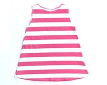 Kids Tunic Dress, Pink Stripe Girl Dress, Stripe Dress, Handmade Girls Dress, Modern Clothing, Girls Clothing, Sizes Infant to Size 6