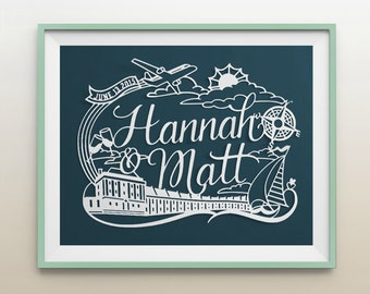 8.5x11 in Custom Nautical Theme Papercut Wonderland