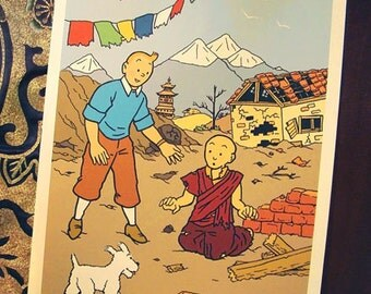 DONATE to Red Cross: Tintin in Nepal, comic-themed print in support of earthquake appeal