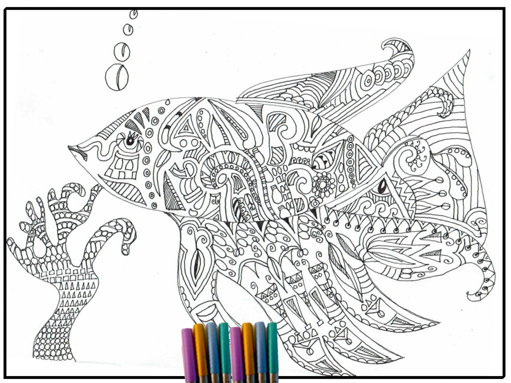 Fish coloring page adult coloring page coloring page for Adult fish coloring pages