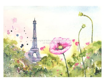 Poppies in Paris -  Watercolor flower Original - Paris Inspired Watercolor Painting