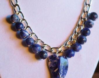 Dark blue sodalite necklace  0360NK