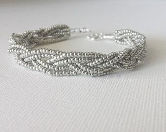 Silver beaded bracelet,gray bracelet,braided silver bracelet,metallic bracelet,seed bead bracelet,elegant ,beaded bracelet,bridesmaid gift