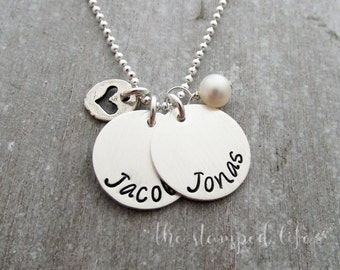 """5/8"""" Two Name Personalized Charm Necklace, Heart and Pearl, Hand Stamped Charm Necklace"""