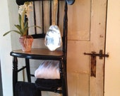 antique black chair up-cycled to sweet wall shelf, bathroom shelf towels n treasures,floor window plant shelf,copper seat,salvage,circa 1840