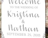Wreath Welcome Wedding Poster - 11x17 - 18x24 - 24x36 - DIY Digital File