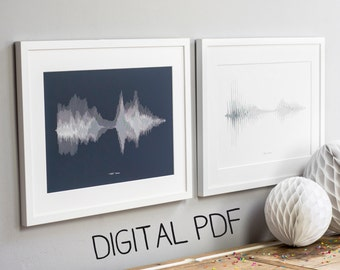 TWO PDF SOUND Prints Personalised Voice Song Wave Science Sentiment Anniversary Wedding Fathers Day Gift Fast Digital Delivery Wall Art Pair