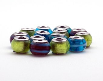 Lampwork Big Hole Beads, 7 Pieces Assorted Blue and Green Glass Beads, Charm Bracelets Components, Beaded Jewelry Parts and Findings