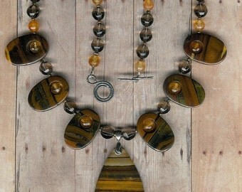 The Eye Of The Tiger - Tiger Iron, Smoky Quartz, Citrine, Freshwater Pearls, Sterling Silver Necklace