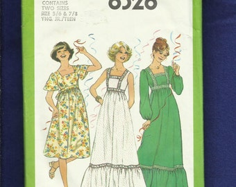1970's Simplicity  8328 Country Empire Waist Ruffled Tier Dresses Size 5/6..7/8