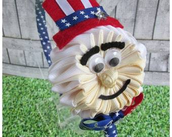 Uncle Sam Kanzashi Headband. 4th Of July Headband