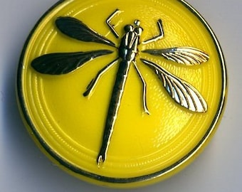 Czech glass button yellow with gold dragonfly design - size 14, 31.5 mm  FCB 1028
