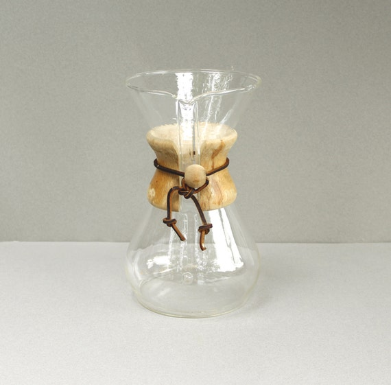 Large Vintage Chemex Glass Coffee Maker 6 Cup Mid Century