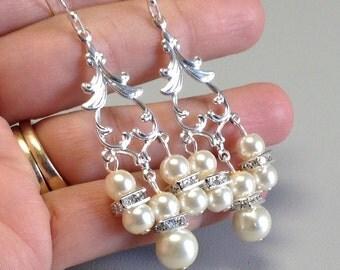 Bridal Pearl Chandelier Earrings, White Bridal Earrings, Long Wedding Earrings, Pearl Drop Earrings Crystal Bridal Earrings BE84