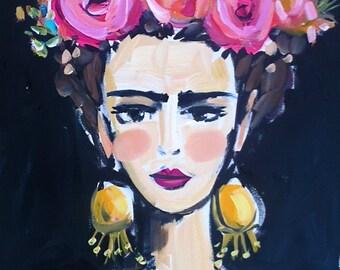 Frida Kahlo Portrait PRINT, large frida, frida art
