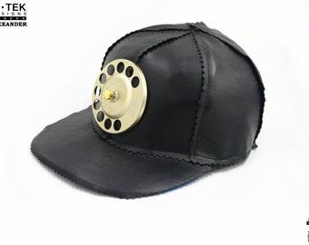 H iTek Alexanderthe ultimate black leather baseball hat head wear unuual unique