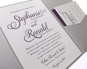 The Violet Suite  - Modern Letterpress Wedding Invitation Sample, Purple, Plum, Grey, Liner, Calligraphy, Script, Swirls, Simple, Classic