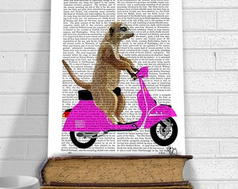 Meerkat on Pink Moped Art Print Nursery print Nursery Art Meerkat Print Meerkat Art Meerkat Illustration kids room