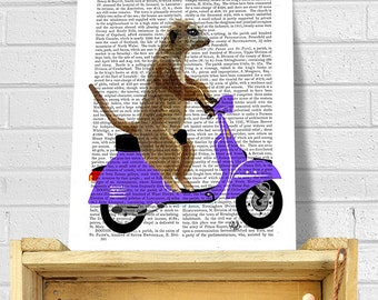 Meerkat on a Lilac Moped Art Print on Dictionary Book Page