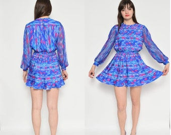 Vintage 80's Accordion Pleated Mini Dress