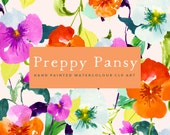 Flower Watercolour Clipart, Hand Painted Graphics - Preppy Pansy