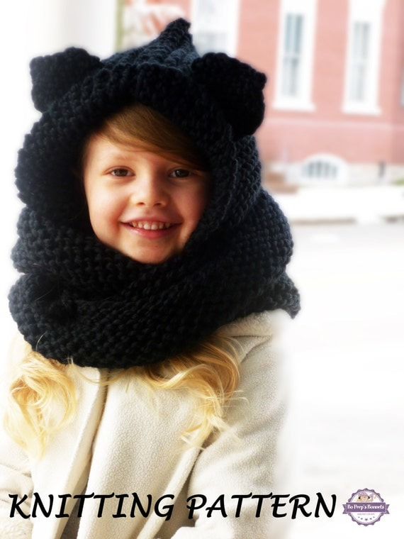 Knitting Pattern Hood With Ears : KNITTING PATTERN Hooded Cat Ears Cowl Scarf Cat by ...