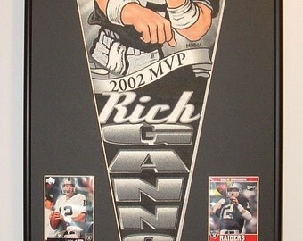 Oakland Raiders Rich Gannon Pennant Framed..with football cards...Custom Framed!!!