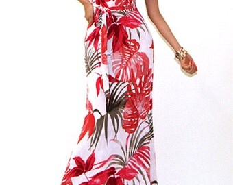 Shades Of PINK/RED Floral Wrap Style Maxi - Short Sleeve