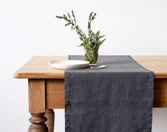 Dark Grey Stone Washed Linen Table Runner