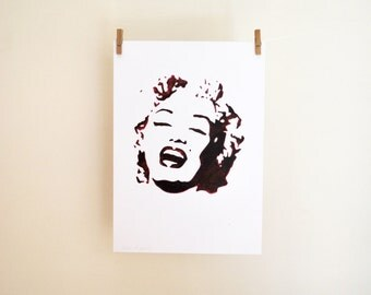 Marilyn Monroe/ Fine art/ portrait/ stencil/ print of original drawing/ drawing freehand/ home decor/ art wall/ celebrity/ 11,5x16,5inches