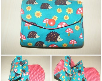 Hedgehog Purse Handmade 3 compartments Cute Toadstools