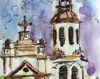 "Watercolor Sketch of Church in Quebec City, Canada Original, quick sketch, Church 5""x8.5"" Watercolor and Pen on paper"