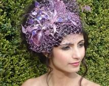 Purple Fascinator, Wedding hat, Ascot Fascinator, Mother of the bride hat