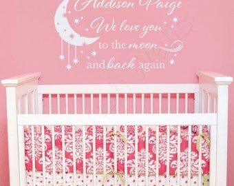 I / We Love You To The Moon And Back Wall Decal - Baby Girl Nursery Name Decal - Baby Boy Nursery Wall Quote - Moon And Stars Nursery CN026