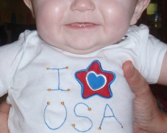 Hooray for the Red, White and Blue. Express your baby's or child's American patriotism.