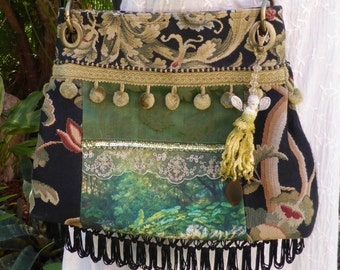 "Boho Gypsy Bag ""Forest Faery"" OOAK made from upcycled and repurposed materials."